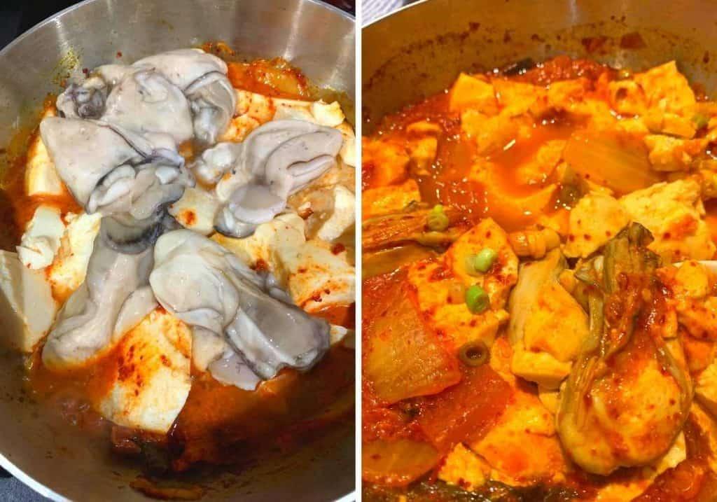 oyster kimchi tofu soup