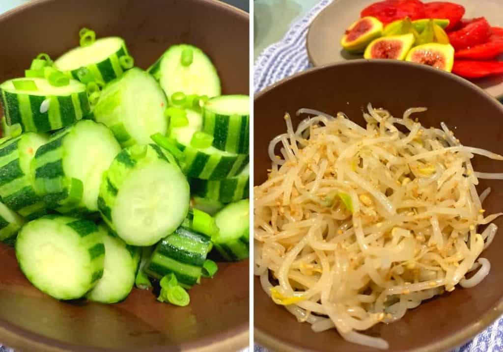 pickled cucumbers and sesame sprouts