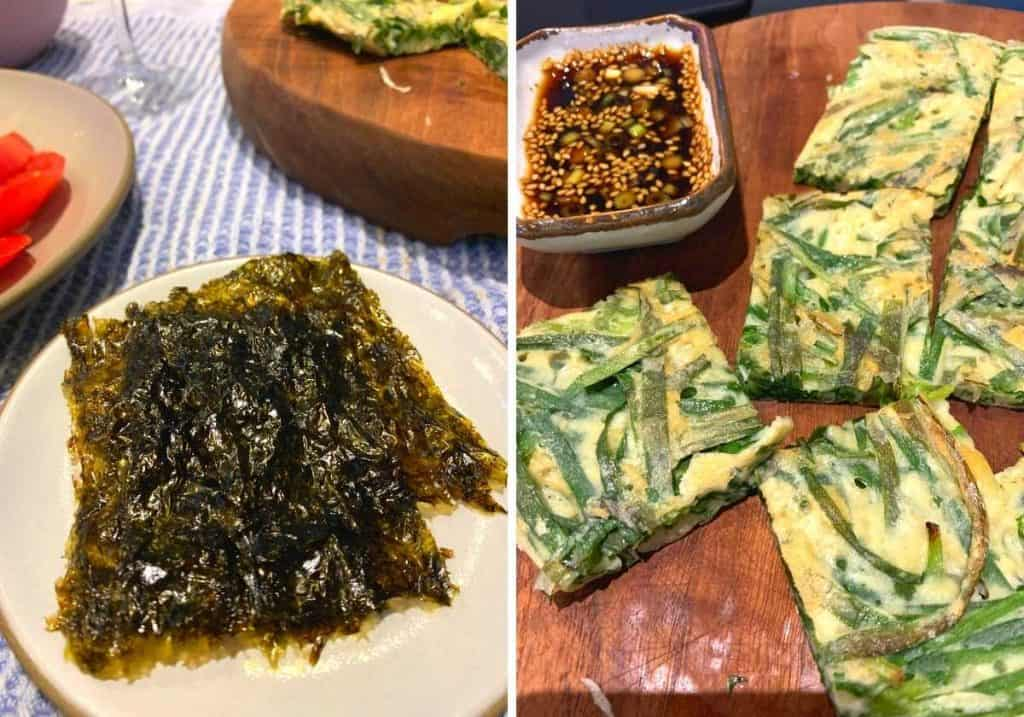 Seaweed crisps and Korean chive pancakes with soy dipping sauce